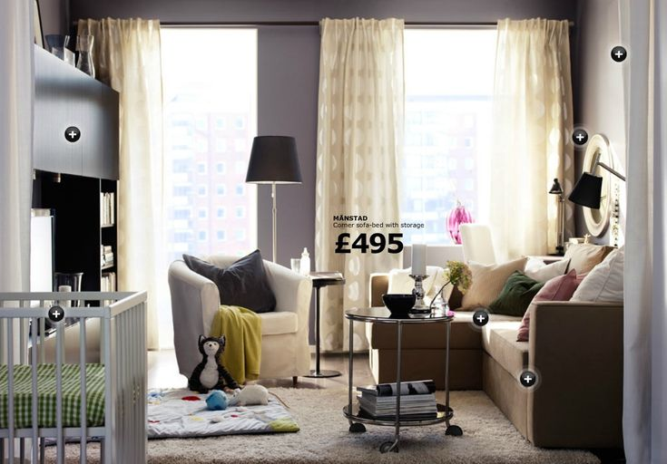 Adorable IKEA Living Room Design Ideas : Awesome IKEA Living Room Decorating with Brown IKEA Manstad Corner SofaBed with Storage