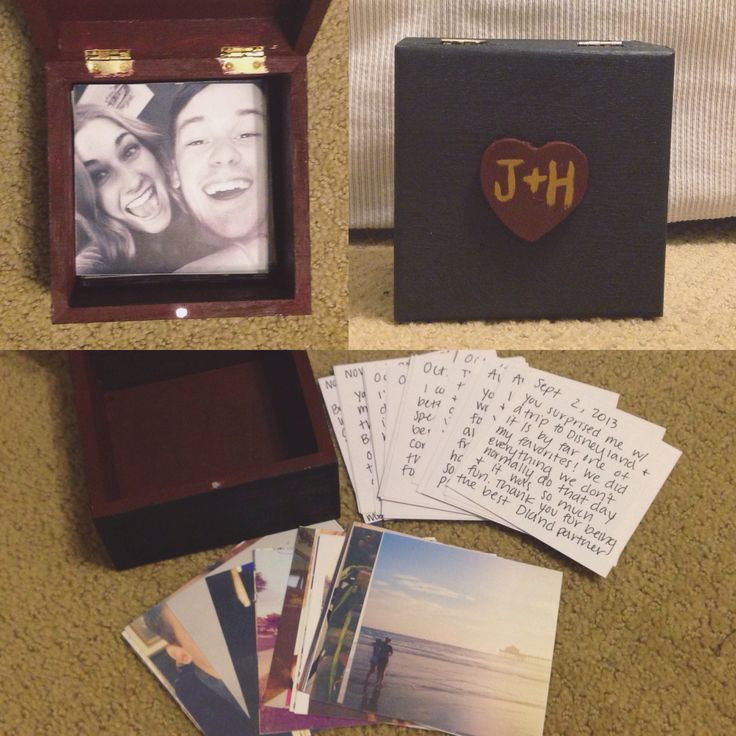 DIY gifts for him or her! I just made this for my boyfriend for Christmas. Paint a box, print out some pictures to fit in it (mine are all Instagram posts) and then write the date and a memory or comment on the back of each picture. What good are photos if they aren't being printed out and shared!? It's a great way to remember all the good times you share, plus you can continually add more. I glued the heart on top and added our first initials :)