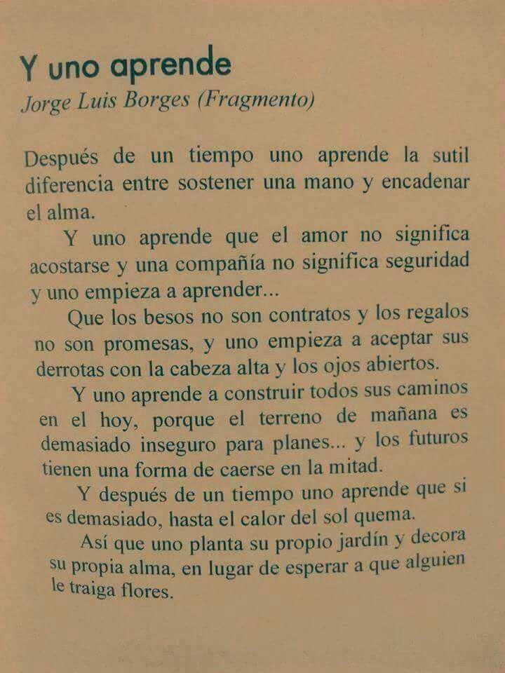 Y uno aprende. Fragmento de Jose Luis Borges