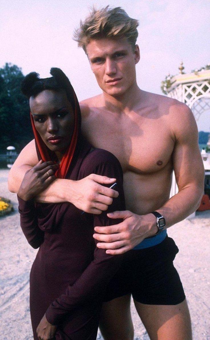 1980-е годы  -  Дольф  Лундгрен  и  Грейс  Джонс.