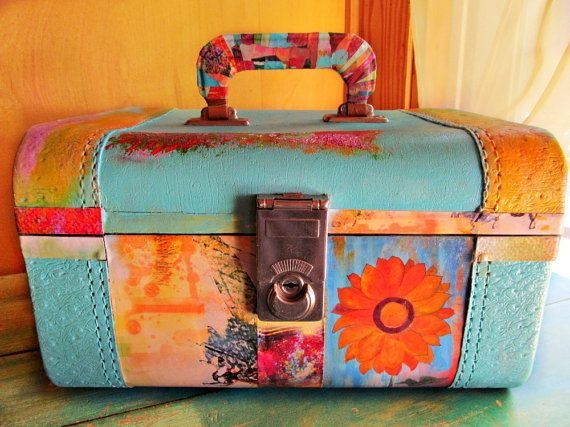 Upcycled Vintage Train Case Recycled Luggage Decoupaged Home Decor Accessory Clothes Bags