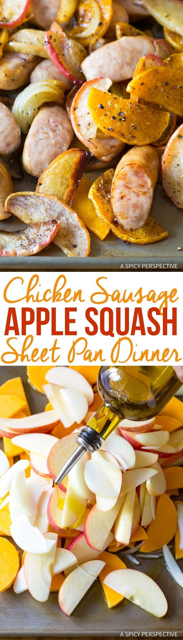 Chicken Sausage Apple Squash Sheet Pan Dinner - A quick 6-Ingredients One-Pan dinner recipe that is both comforting and healthy! via @spicyperspectiv