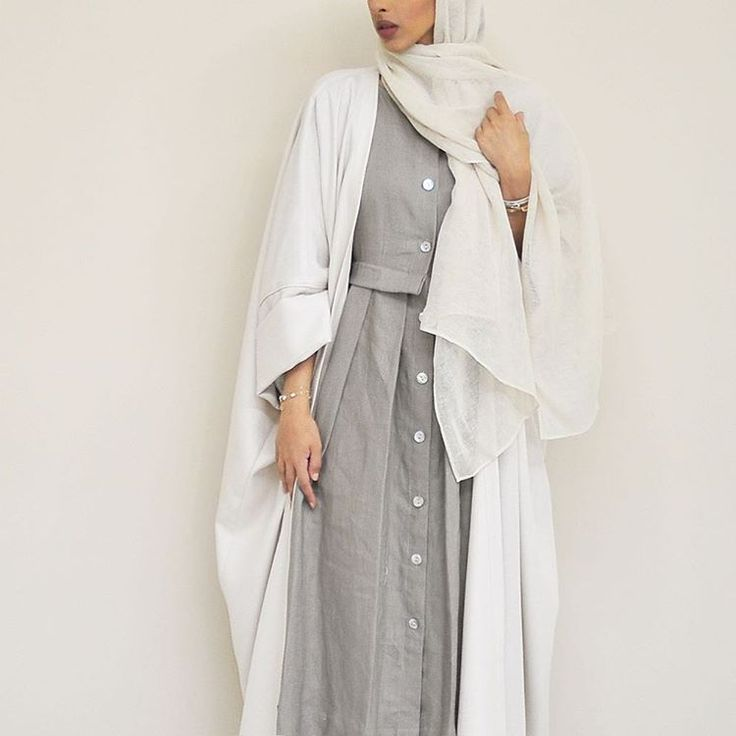 Winter whites ( head scarf attached to the abaya ) - can be worn in 3 different ways # Epiphany.dubai