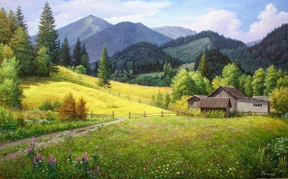 Summer Mountain Landscape Oil Painting Realism Oil Painting Large Canvas Art Original Large Painting Mountains Art Wall Art Mountain Landscape Oil Painting Landscape Original Large Painting