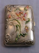 Art-Nouveau style Flora/Foliage Enamel in soft hues Decorate this Silver Cigarette Case