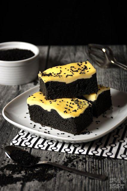 cake, cream cheese, and black sesame image