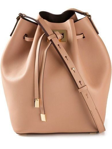 'Nude calf leather large 'Miranda' messenger bag from Michael Kors featuring a structured design, gold-tone hardware, a drawstring fastening, an adjustable shoulder strap, an internal slip pocket and an internal logo plaque.'