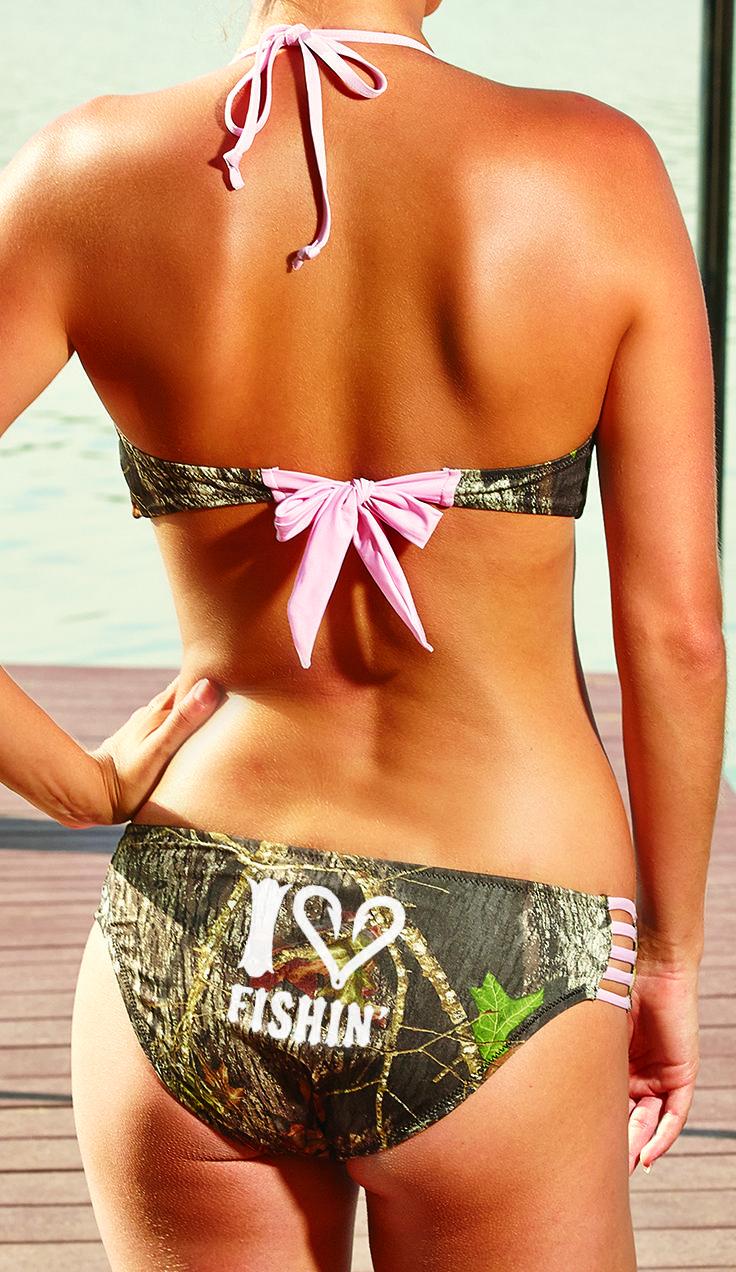 Southern Sisters Designs - Mossy Oak Pink Bandeau Bikini Top