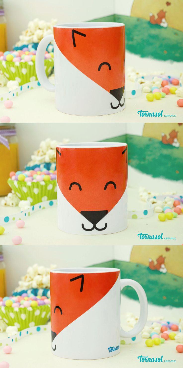 ¡Taza Zorrito! Taza de ceramica 11 oz. Impresa con carita de zorrito. #taza #fox #zorro #coffe #cafe #tea #tornasol #original #ceramica #veracruz