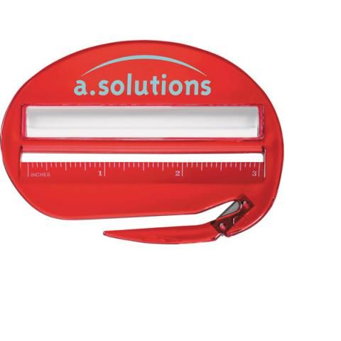 Here is the ultimate desk accessory! The ultimate, plastic, combination of 3-inch ruler, letter opener and magnifier is perfect for mail, measuring and reading small print. This item comes in various transparent colors and can be customized to your specifications for a one of a kind product that is sure to impress your valued clients. This is the perfect promotional item for mailrooms, corporate secretaries and executives alike!  Promotional products increase customer awareness of your ...