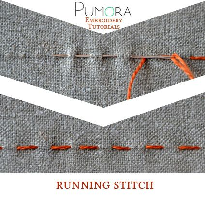 Pumora's embroidery stitch-lexicon: the running stitch