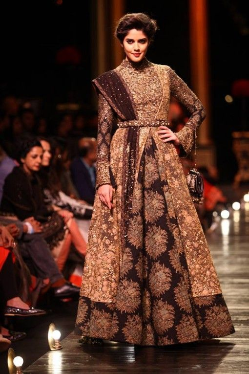 A play of patten. A Sabyasachi special as seen at the Lakme Fashion Week Finale show in 2013