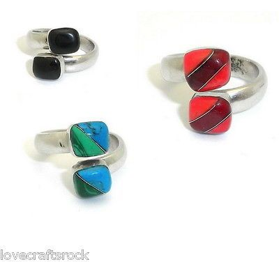 Silver-Ring-Handmade-Wrap-Onyx-Malachite-Coral-Blood-Stone-Two-Alpaca-Jewelry