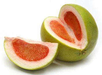Pummelo, native to South and Southeast Asia, has an ultra-thick skin that gives way to a fresh, citrusy flesh. Sweeter than your typical grapefruit #exotic #fruit #places