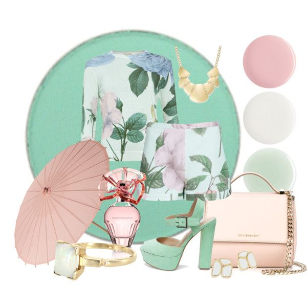 Mint and rose by teki-88 on Polyvore featuring Ted Baker, Steve Madden, Givenchy, Vintage, Kate Spade, Bar III, BCBGMAXAZRIA, Cultural Intrigue and Nails Inc.
