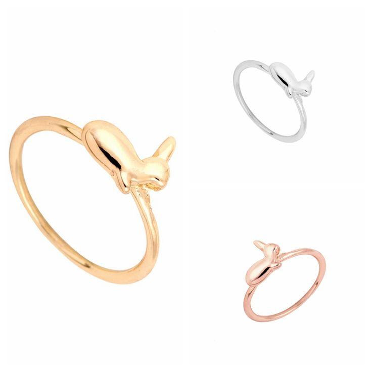 2016 Hot mode à la main Vintage or, Argent, Or rose mignon lapin anneau, Lapin anneau livraison gratuite EY-R106(China (Mainland))