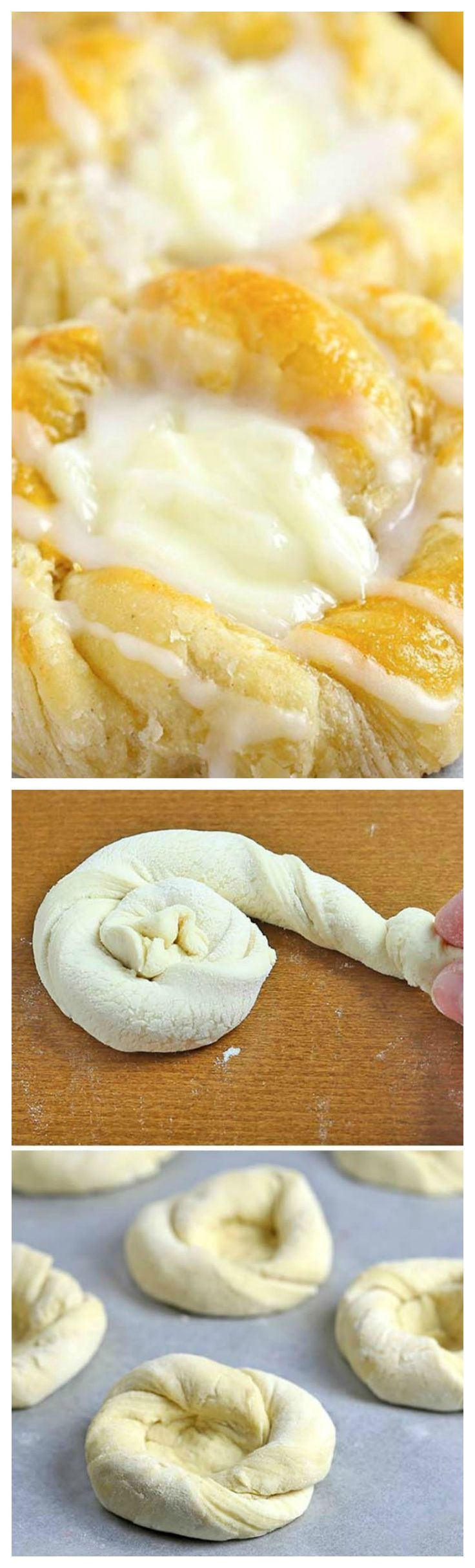 Quick and Easy Cream Cheese Danish ~ Starts with store-bought crescent roll dough, and can be made, start to finish in under 30 minutes.