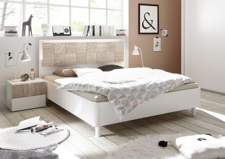 Bett 180 X 200 Cm Mit Nako Set Weiss Matt Mit Siebdruck In Sonoma Eiche Classico Bett Modern Bett Ideen Komplettes Schlafzimmer