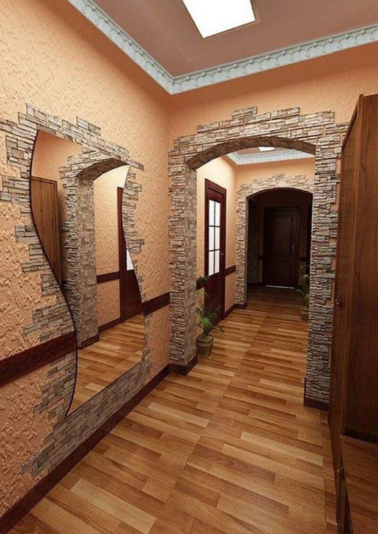 отделка стен в коридоре декоративным камнем фото территории парка