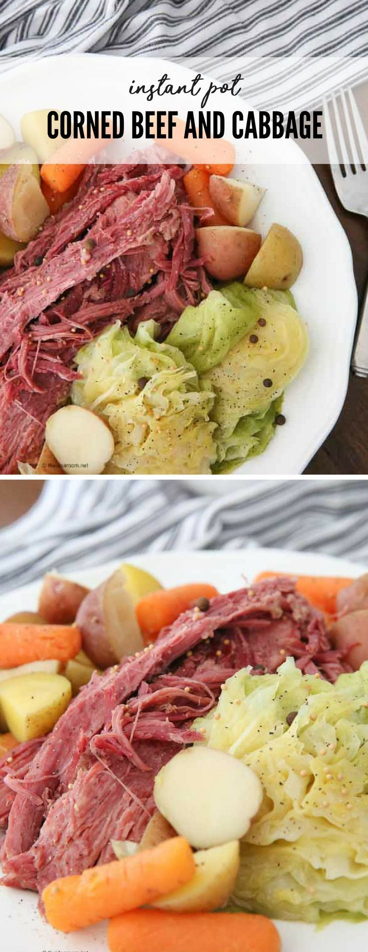 Instant Pot   Recipes   Easy and Quick Dinner Ideas   St. Patrick's Day   Instant Pot Corned Beef and  Cabbage can be on the table in just 1 hour and 30 minutes.