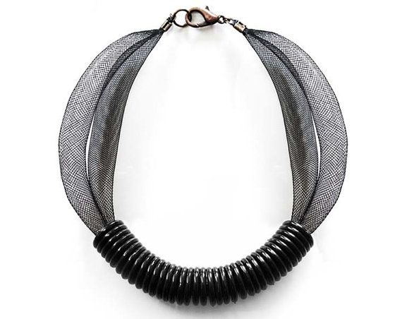 Mesh buis ketting & zwarte plastic ringen ketting, gave ketting met sieraden ketting, ketting moeder cadeau, de giften van juwelen, ketting sieraden