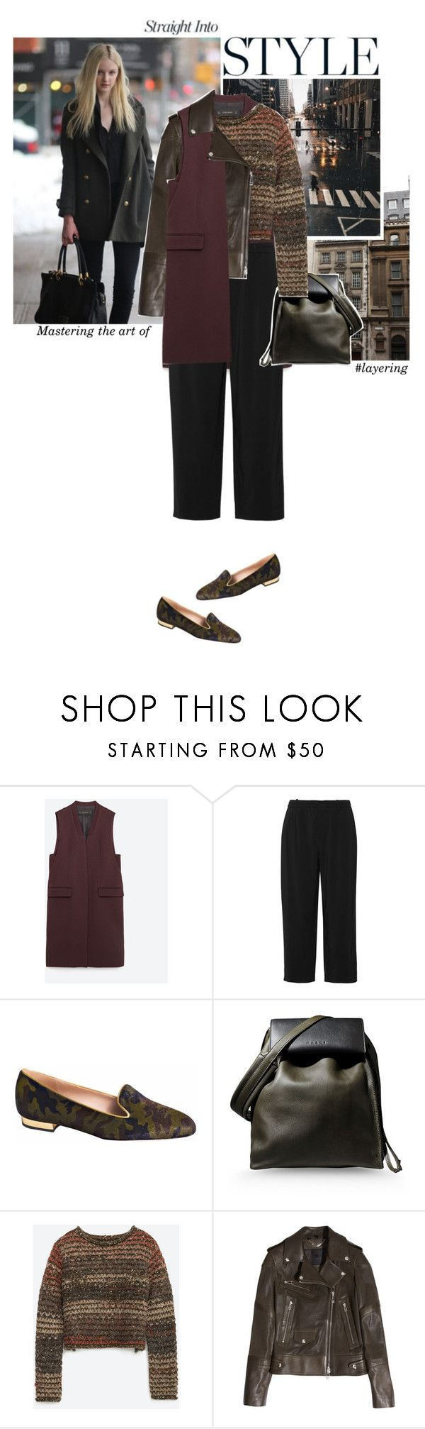 """To give anything less than your best, is to sacrifice the gift.  Steve Prefontaine"" by hil4ry ❤ liked on Polyvore featuring Zara, Marni, De Siena, Belstaff, outfit and layering"