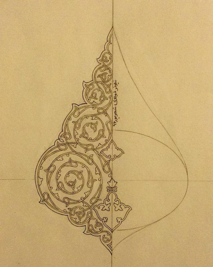اسلیمی طراحی با مداد #Iranian_art