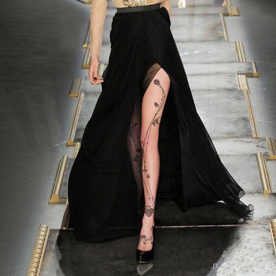 Tattoo Floral Sexy 15D 40D 120D Velvet Pantyhose Stockings Tights Leggings | eBay