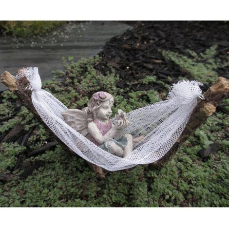 Fairy Hammock www.teeliesfairygarden.com A fairy looking for relaxation and serenity will surely enjoy this fairy hammock paired with the soothing sway of the cool wind. #fairyhammock