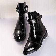 La moda de charol negro botas de mujer botines cortos de la motocicleta botines otoño pisos zapatos de vestir de mujer cuñas mujeres botas de montar(China (Mainland))