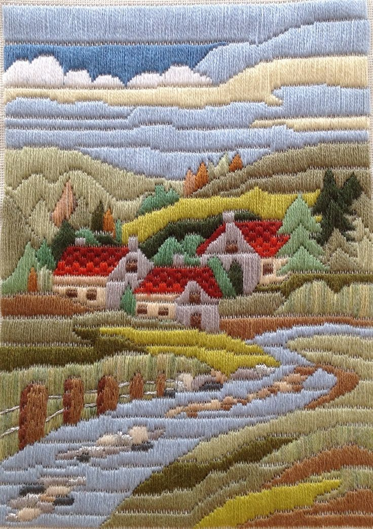 . long stitch (needlepoint)landscape