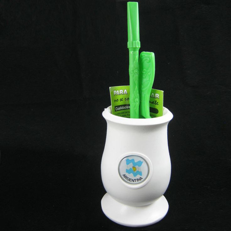 Argentina Mate Gourd Yerba Plastic Tea Cup With Straw Bombilla Kit 9334 White !!