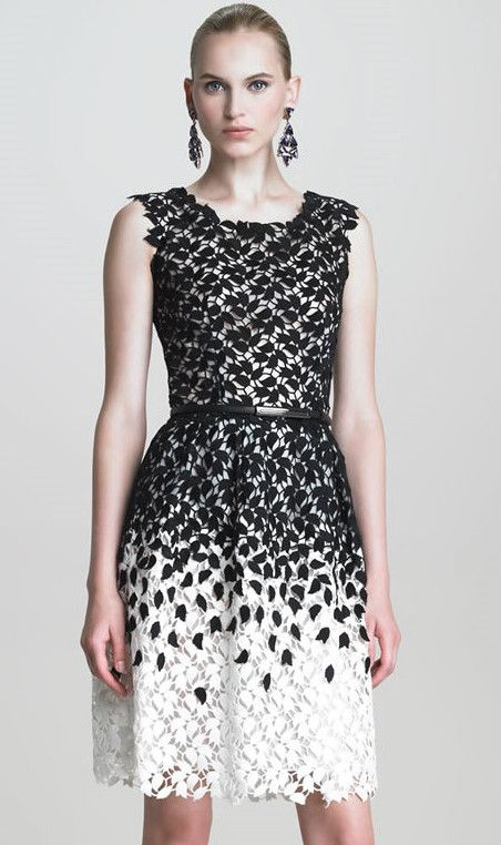Black and White Sleeveless Leaf Lace Dress
