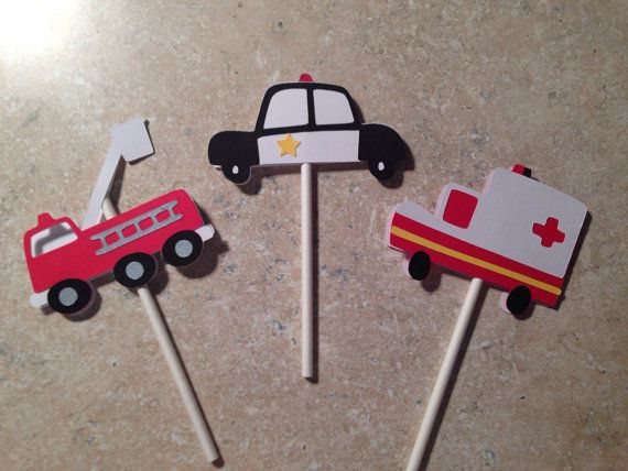 Rescue Vehicles cupcake toppers by armywife711 on Etsy
