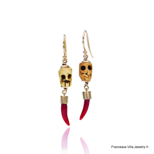 My Lucky Day Earrings in gold, red coral with vintage tiny wood skulls.
