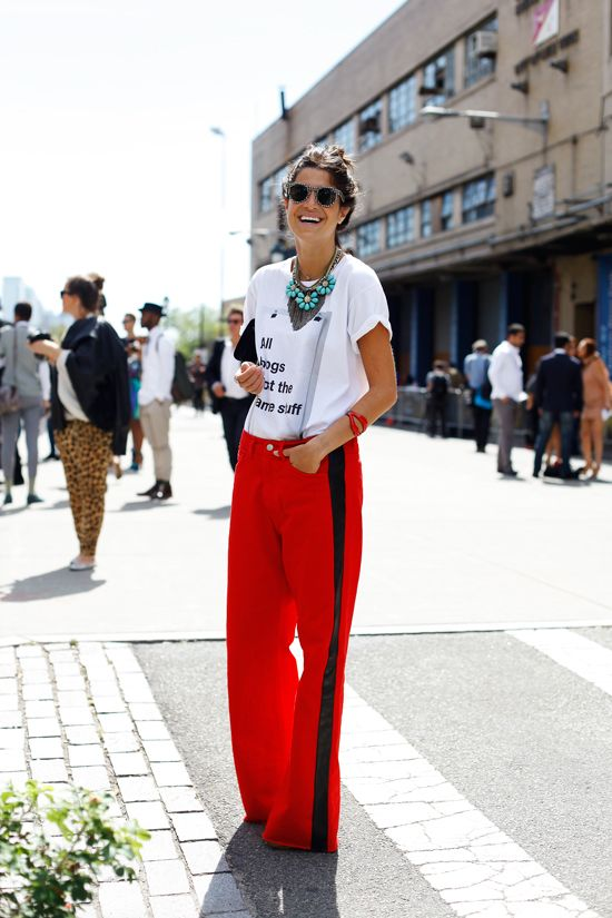 side stripe / bright red / track pant / wide leg pant