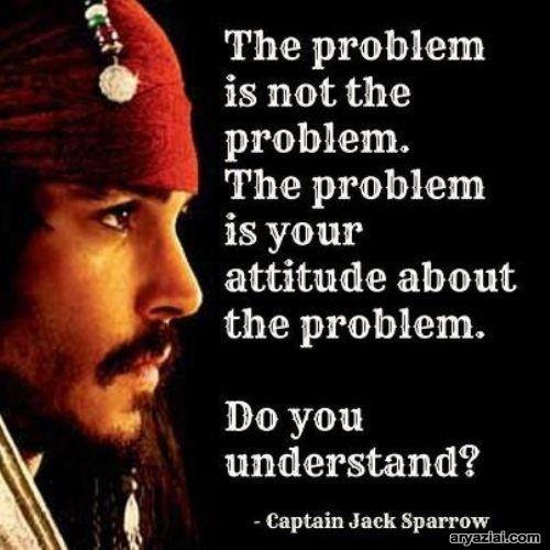 """""""The problem is not the problem…""""   ~ Captain Jack Sparrow"""