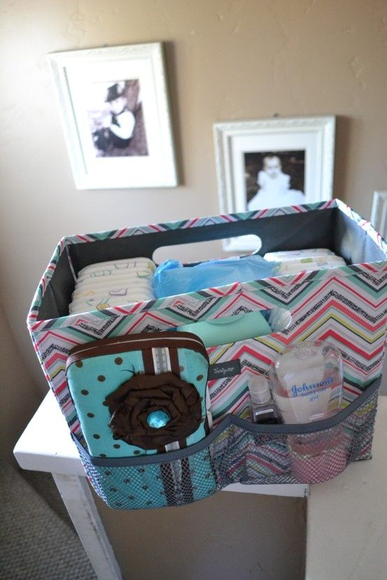 Thirty One Fold-n-File used as an on the go diaper caddy! Good idea for the trunk of the car