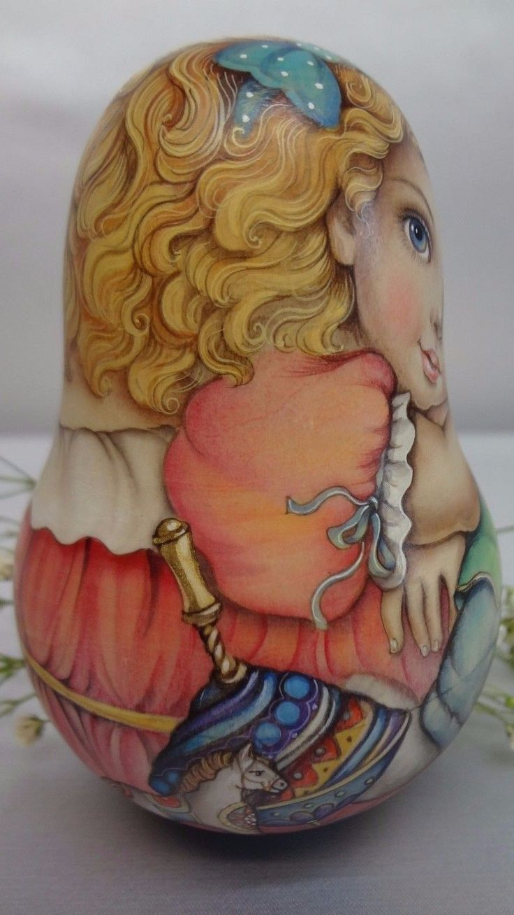 1 kind art watercolor roly poly matryoshka Russian author doll Marta   eBay