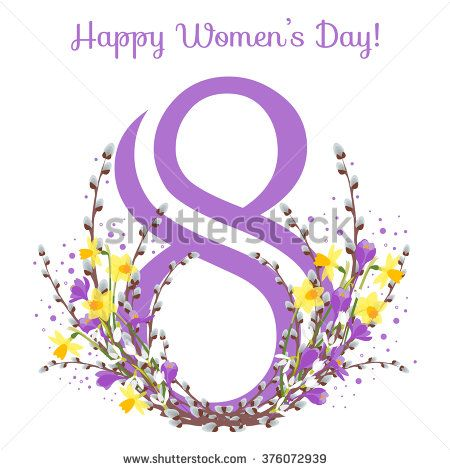 Vector card for 8 march. International Women's Day. Floral frame with pussy willow, crocus, snowdrops,narcissus