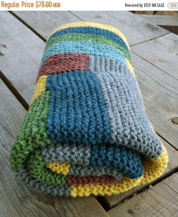 Вязанный шерстяной плед, вязаное одеяло, разноцветный вязаный плед, одеяло связанное спицами