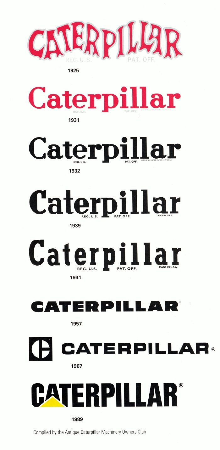 Caterpillar Logos through the years