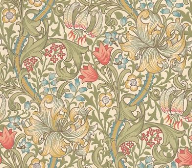 Golden Lily (210398) - Morris Wallpapers - Lily flowers and country blooms wind through this briar leaf design – the ultimate country cottage pattern. Shown in fresh greens, blues and pinks. Please request sample for true colour match.