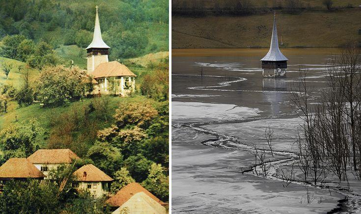 Ez az egyház Spire minden marad egy falu, nemsokára lesz eltemetve Teljesen | Unatkozó Panda