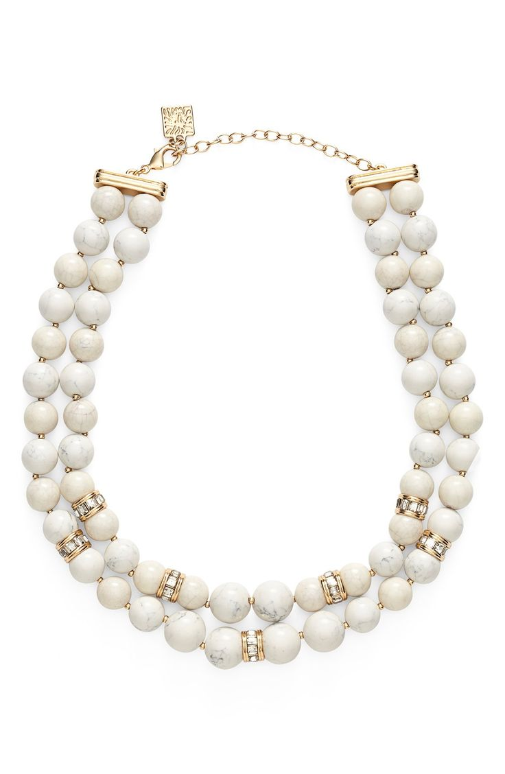 Anne Klein Stone Bead Two-Row Collar Necklace