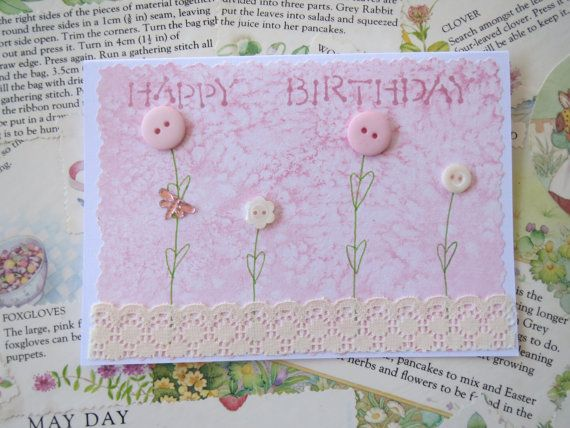 Happy Birthday...... Feminine Handcrafted Card by LinLovesPaper on Etsy