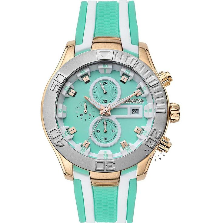 BREEZE Milkshake Stripes Chrono Green Rubber Strap Τιμή Προσφοράς: 166€ http://www.oroloi.gr/product_info.php?products_id=30580