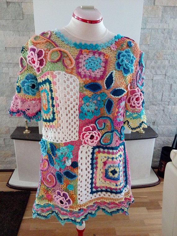 Colorful loose crochet top/blouse made with granny squares and Irish crochet technique. It is an elegant summer top that can be worn in any occasion with pants or with a skirt. Size S, M, L  It is a stretchable top. Maximum bust 102 cm - 40,15 inch shoulder to shoulder - 42 cm -