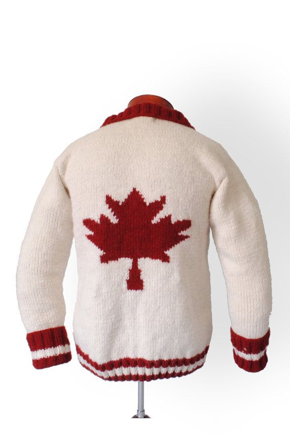 Canadian Sweater Maple Leaf Cardigan Sweater  by CampKitschyKnits