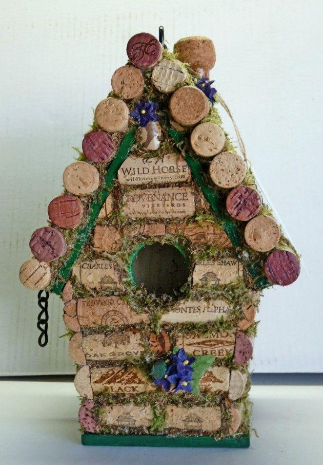 Craft your own wine cork birdhouse.